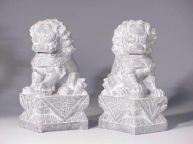 138: Pair stone Foo Dogs