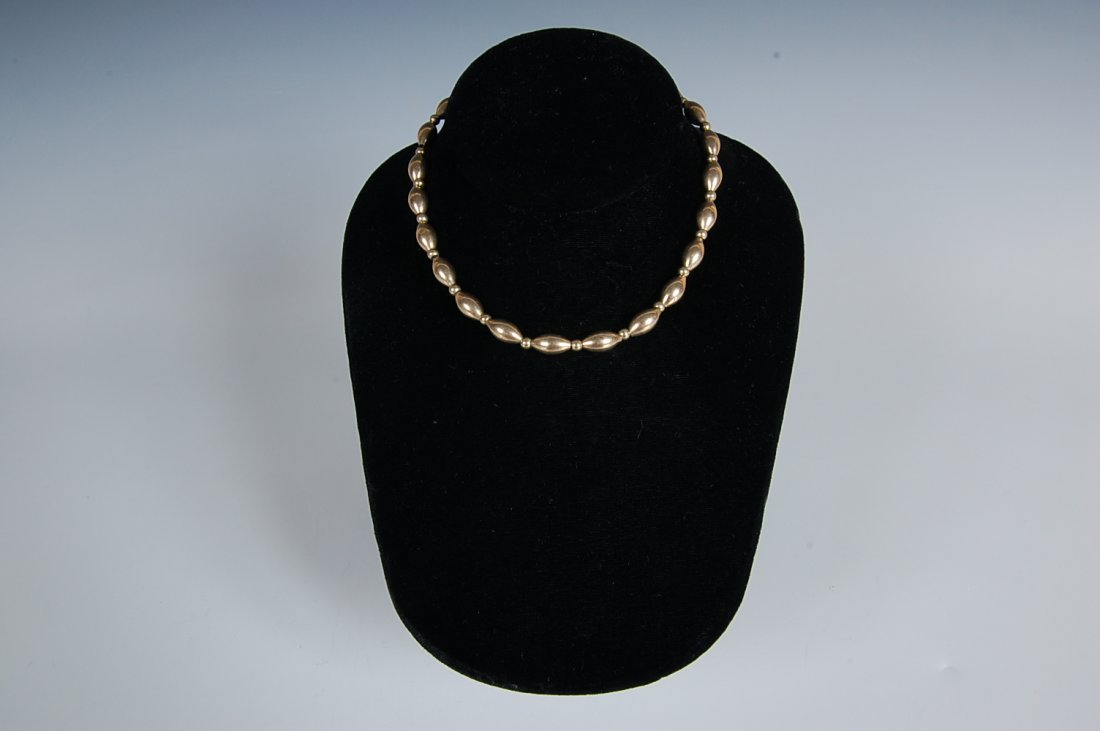 14K GOLD ELONGATED BEADS ON FOXTAIL CHAIN