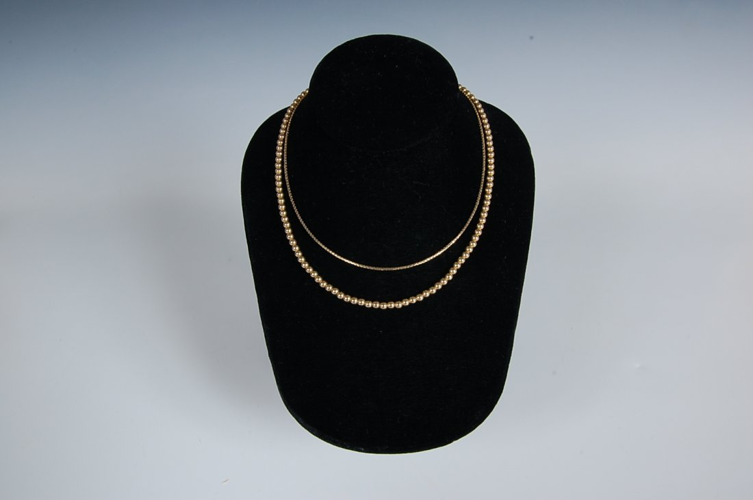 14K GOLD BEAD STRAND AND BOX LINK CHAIN