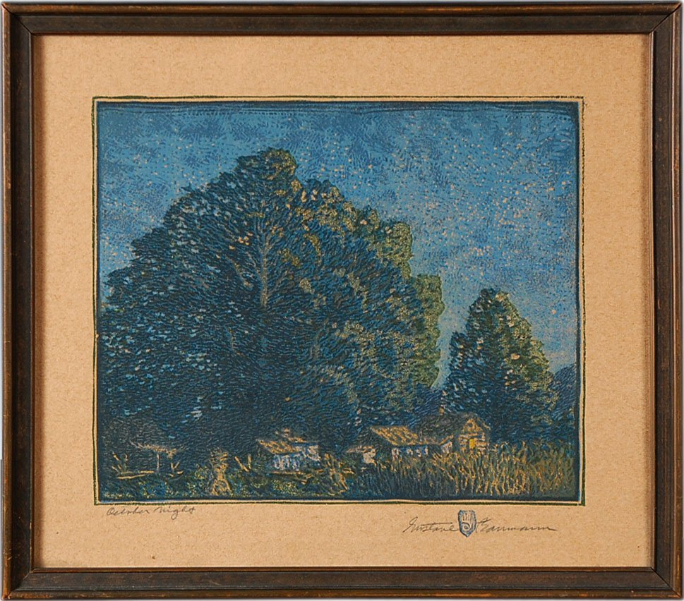GUSTAVE BAUMANN PENCIL SIGNED WOODBLOCK PRINT 'OCTOBER