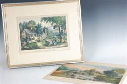 TWO CURRIER AND IVES COLOR LITHOGRAPHS THE MOUNTAIN S