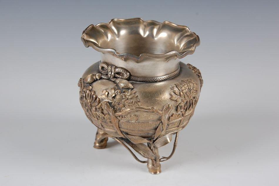 JAPANESE MEIJI PERIOD SILVER VASE CIRCA 1868 – 1912