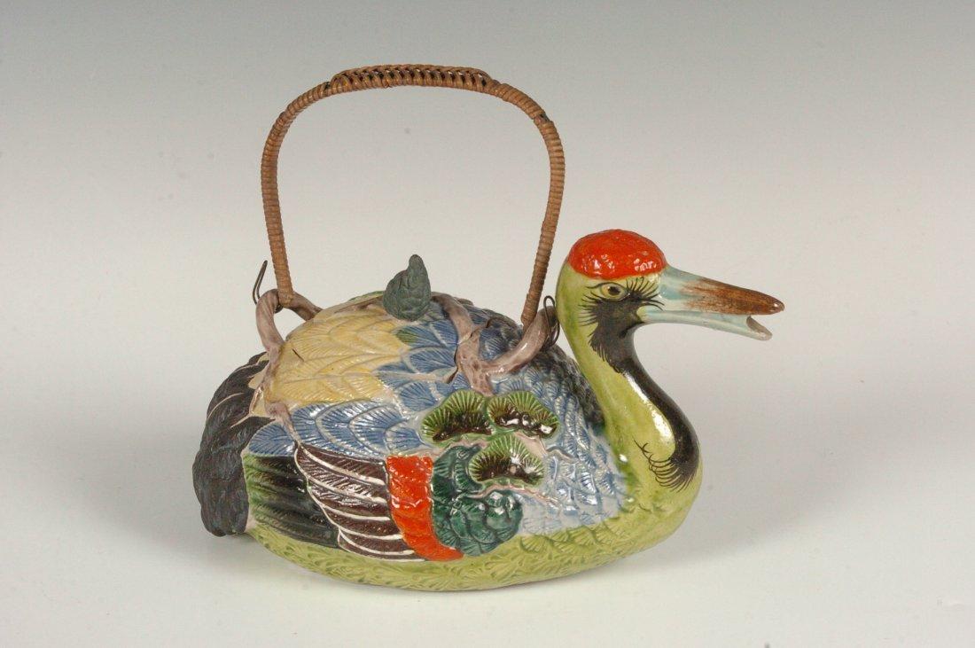 JAPANESE BANKO TEAPOT, FORM OF A BIRD WITH BONSAI