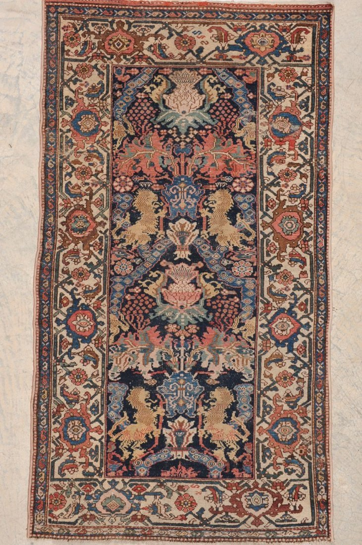 OLD PERSIAN HAMADAN RUG WITH STANDING LIONS