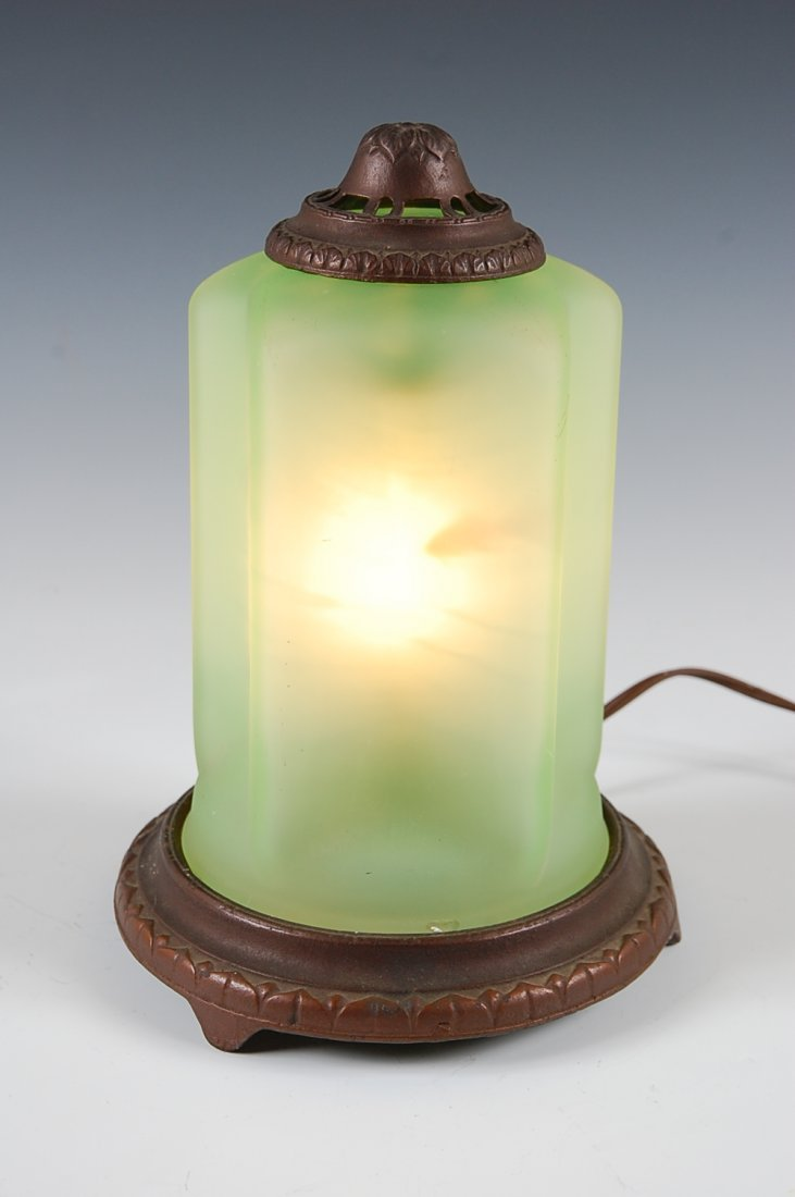 CIRCA 1920'S ART DECO GREEN SATIN MOTION LIGHT