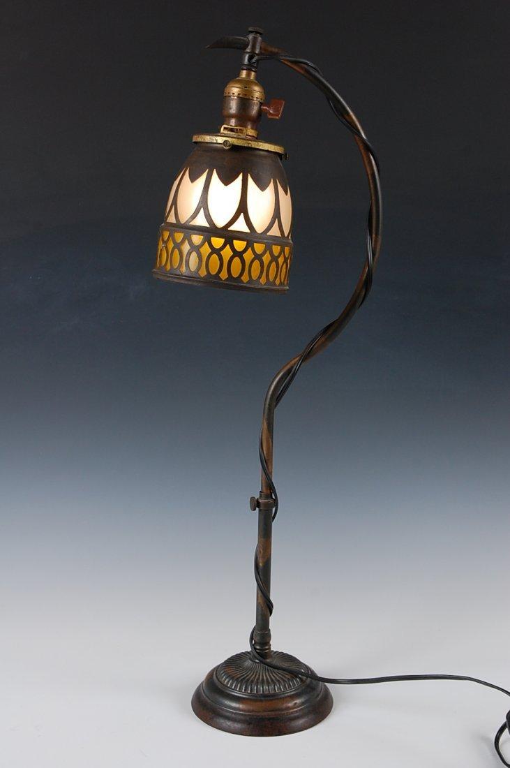 CIRCA 1900 COPPER FLASH DECORATED DESK LAMP