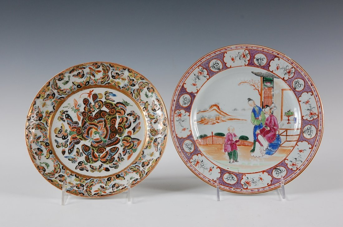18TH AND 19TH C. CHINESE PORCELAIN PLATES, ONE WITH REP