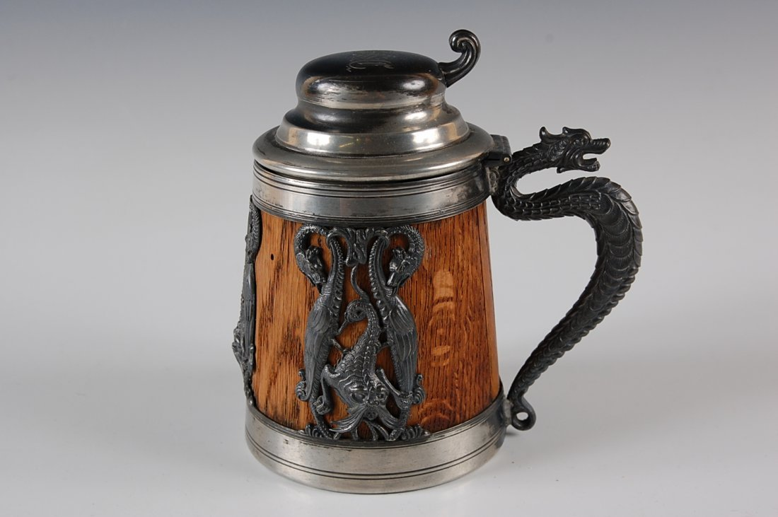 CIRCA 1900 WOOD STEIN WITH SILVERPLATE MOUNTS