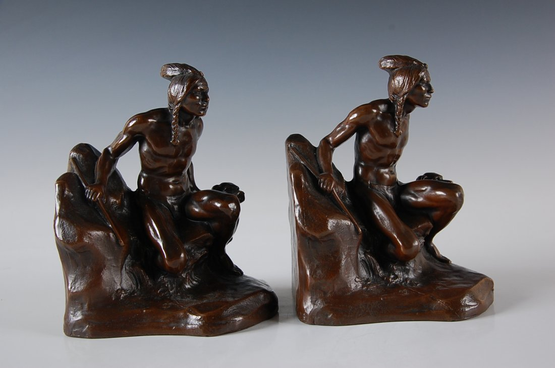 BRONZE BOOKENDS NATIVE AMERICAN AND DOG SIGNED C. VIETH