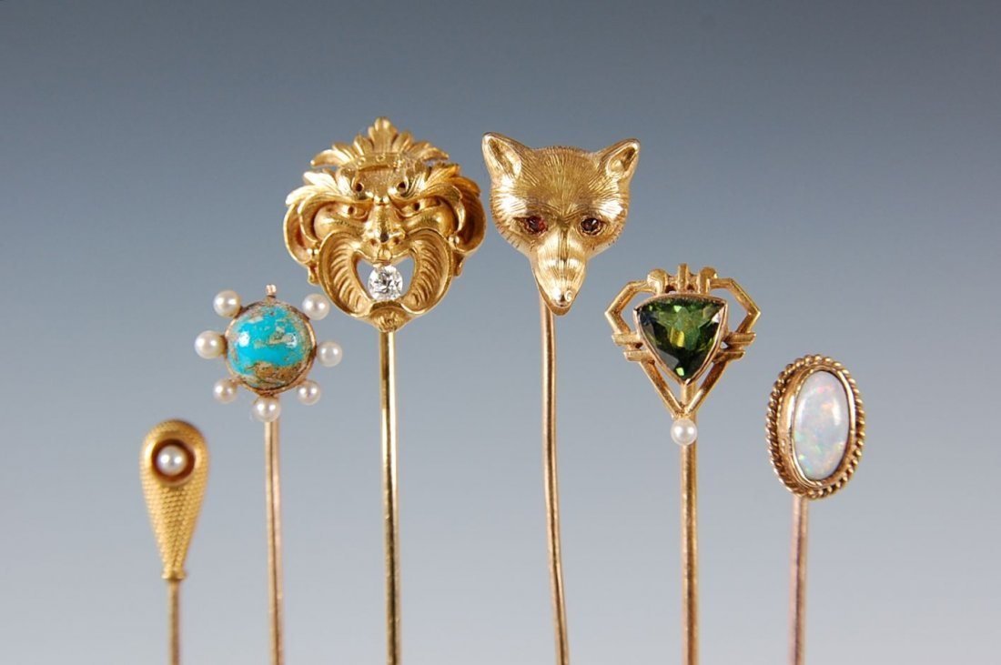 SIX ANTIQUE STICK PINS MARK 14 K