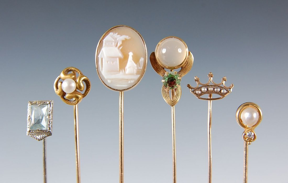 SIX ANTIQUE STICKPINS MARK 14 K