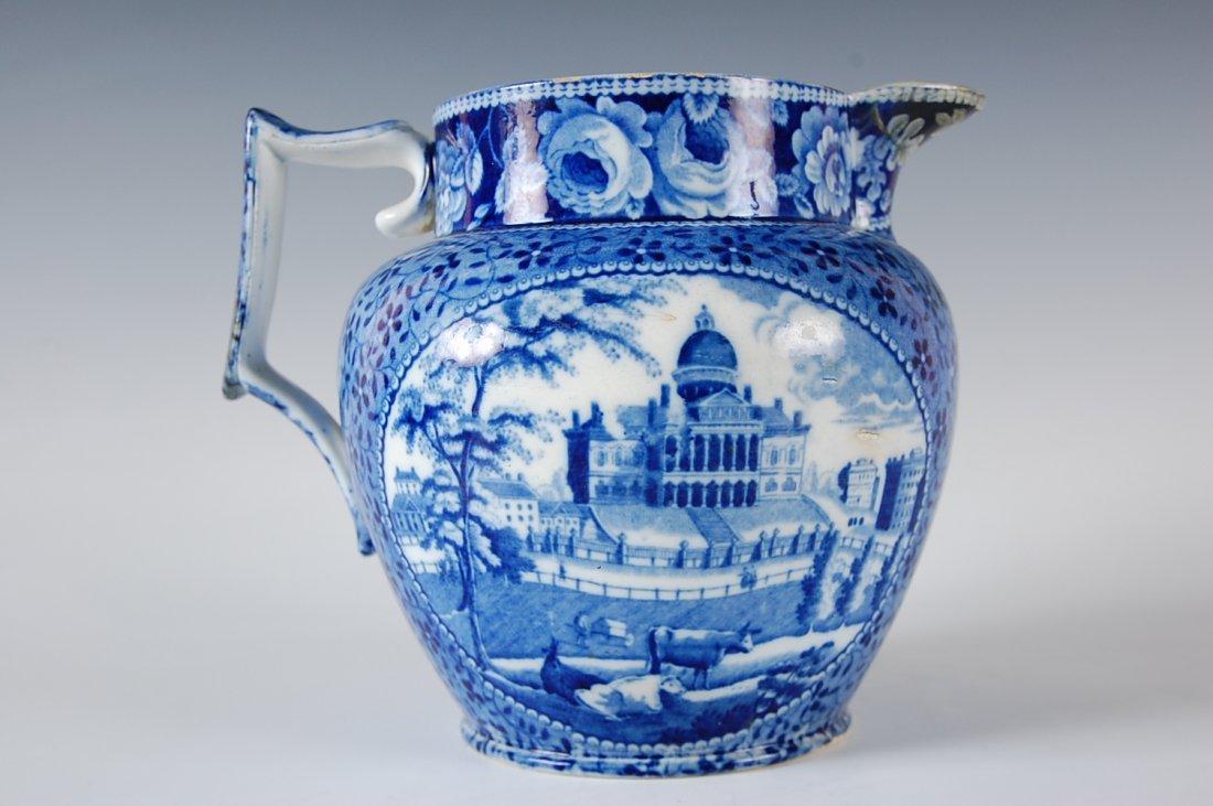HISTORICAL BLUE STAFFORDSHIRE JUG BOSTON STATE HOUSE