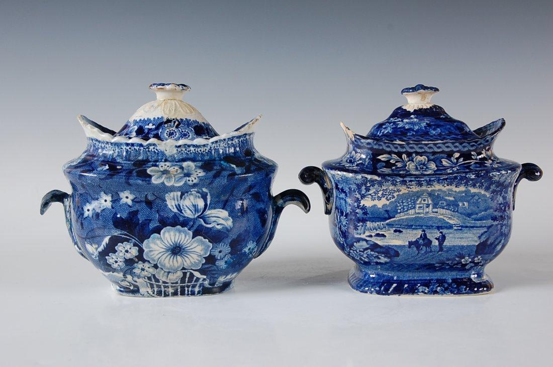 TWO HISTORICAL BLUE STAFORDSHIRE SUGAR BOWL