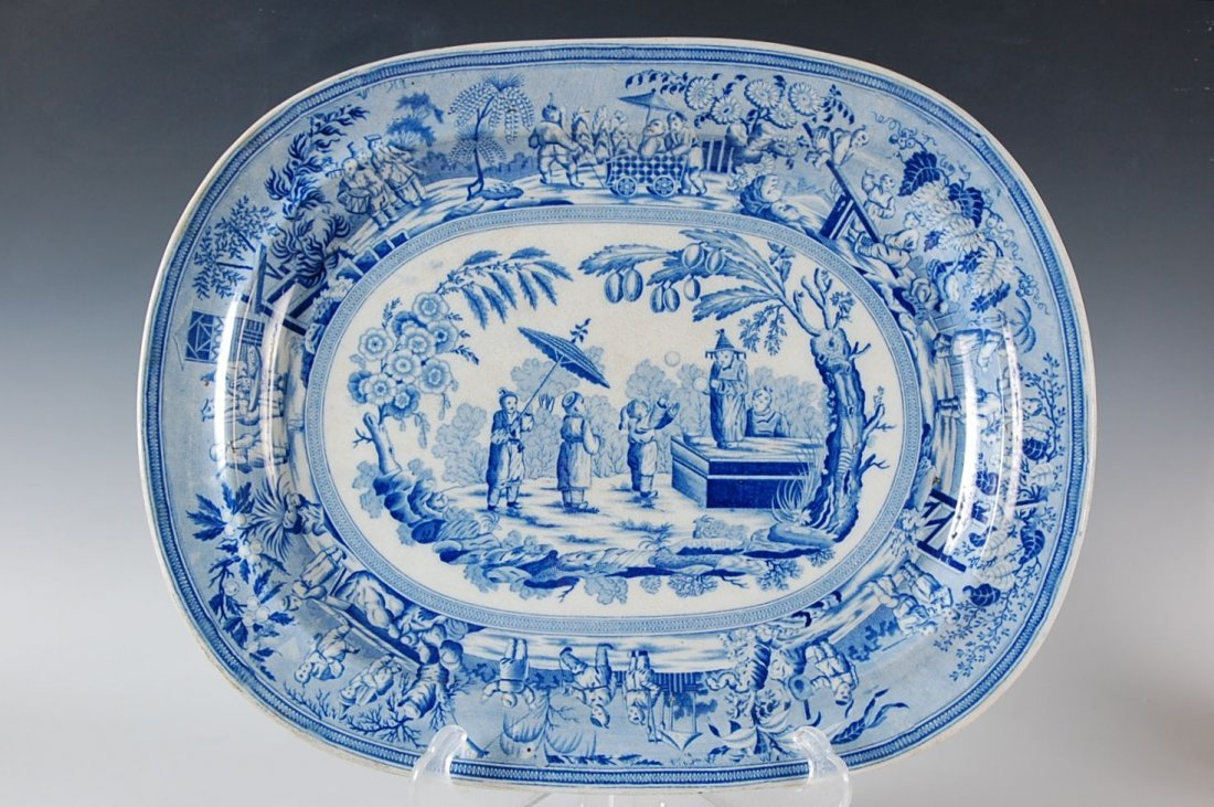 LARGE ORIENTAL THEME HISTORICAL BLUE STAFORDSHIRE PLATT