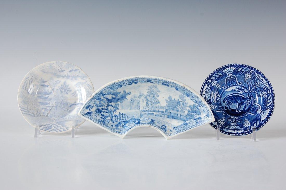 HISTORICAL BLUE STAFORDSHIRE BONE DISH & BUTTER PATS