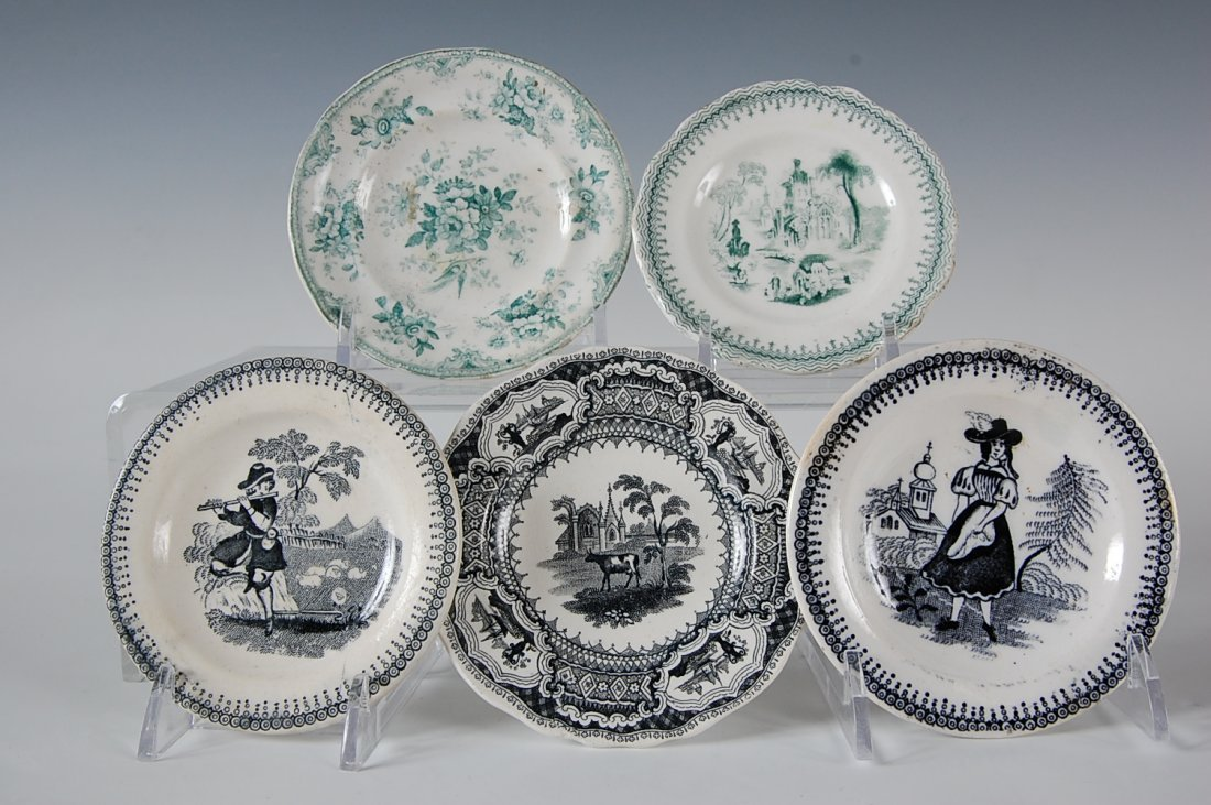 FIVE 19TH-CENTURY TRANSFER BUTTER PATS & CUP PLATES