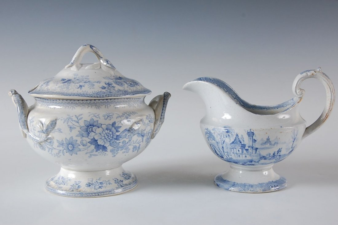 TWO PIECES 19TH-CENTURY BLUE TRANSFER WARE