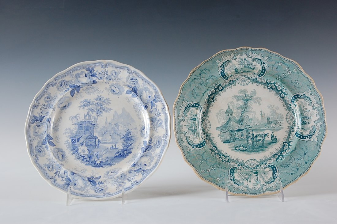 TWO 19TH C. TRANSFER PLATES AND BLUE AND GREEN