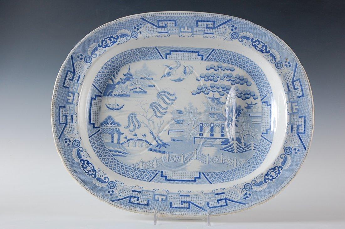 19TH C. BLUE WILLOW PATTERN BLUE TRANSFER MEAT PLATTER