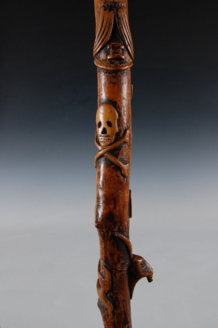 19THC. FOLK ART CARVED WOOD CANE COVERED WITH ALLEGORIC