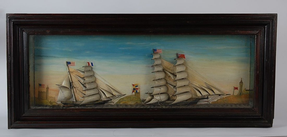LARGE 19TH-C. FOLK ART DIORAMA WITH TWO SHIPS