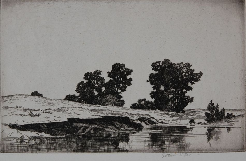 ARTHUR HALL (1889-1981) PENCIL SIGNED ETCHING