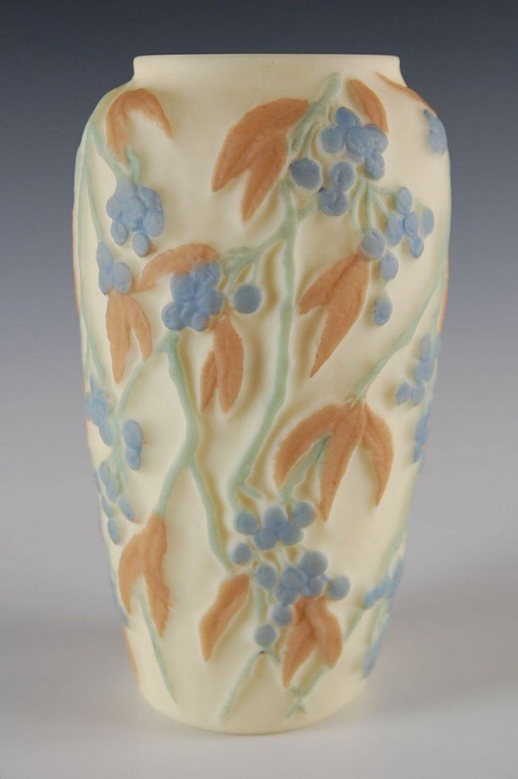 PHOENIX CONSOLIDATED ART GLASS VASE, BITTERSWEET PATTER