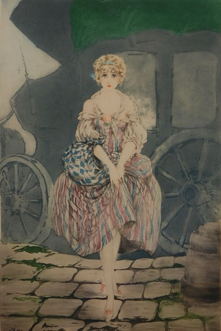 1: LOUIS ICART (1888-1950) PENCIL SIGNED COLOR ETCHING