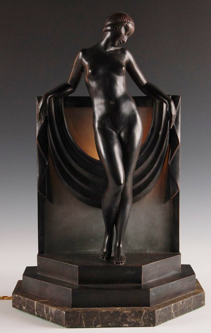 4: ART DECO BRONZE NUDE LUMINAIRE SIGNED FAYRAL