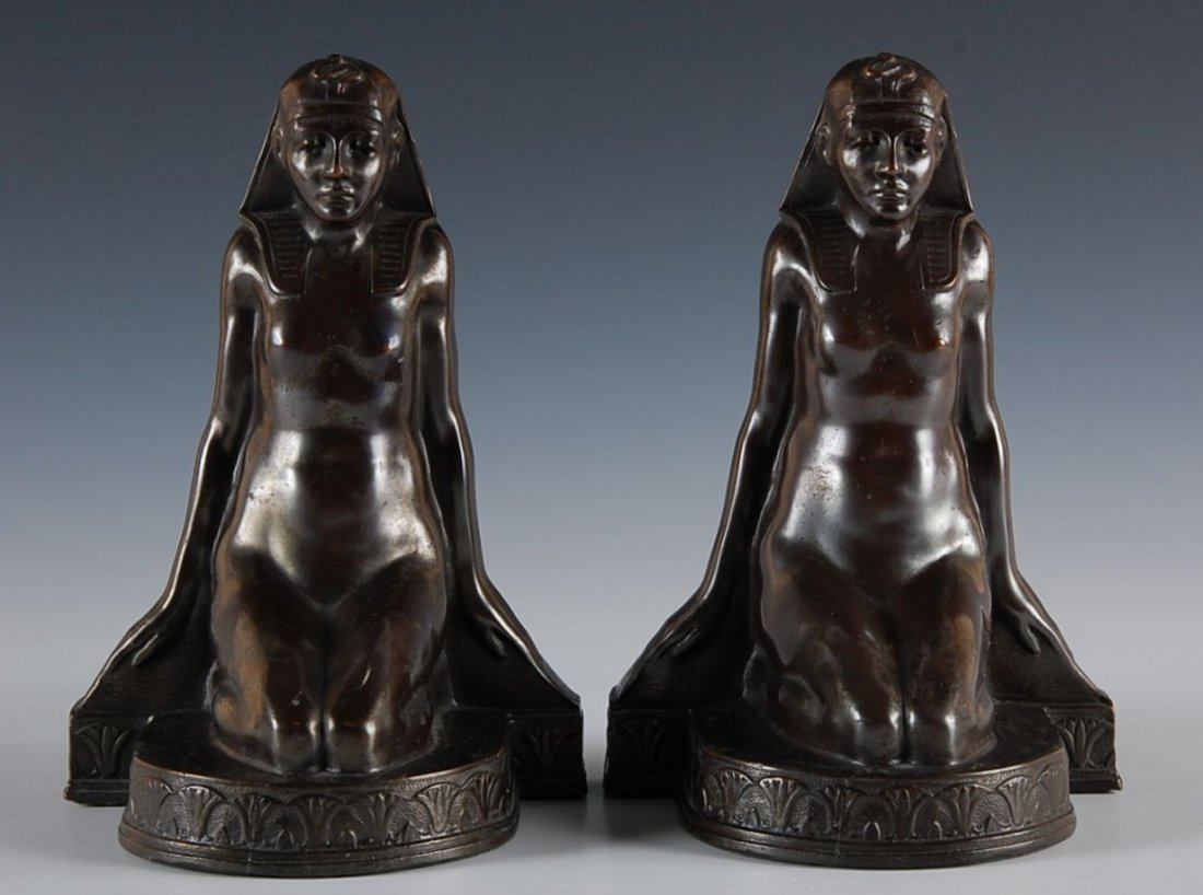 8: PAIR OF EGYPTIAN REVIVAL ART DECO NUDE BOOKENDS