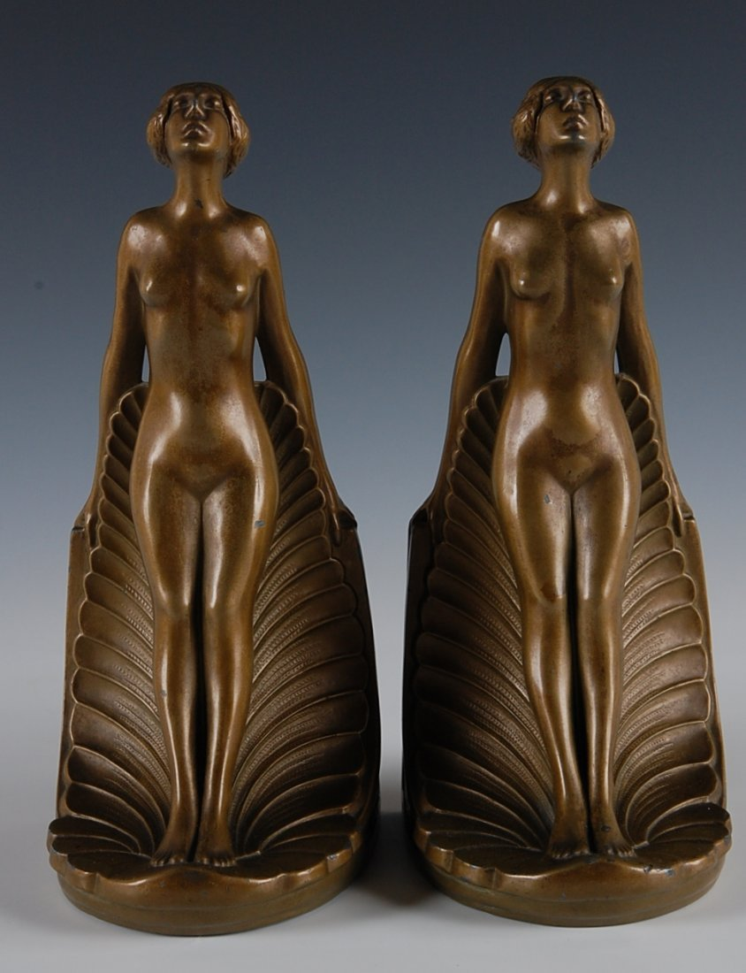9: PAIR OF ART DECO BOOKENDS WITH NUDES