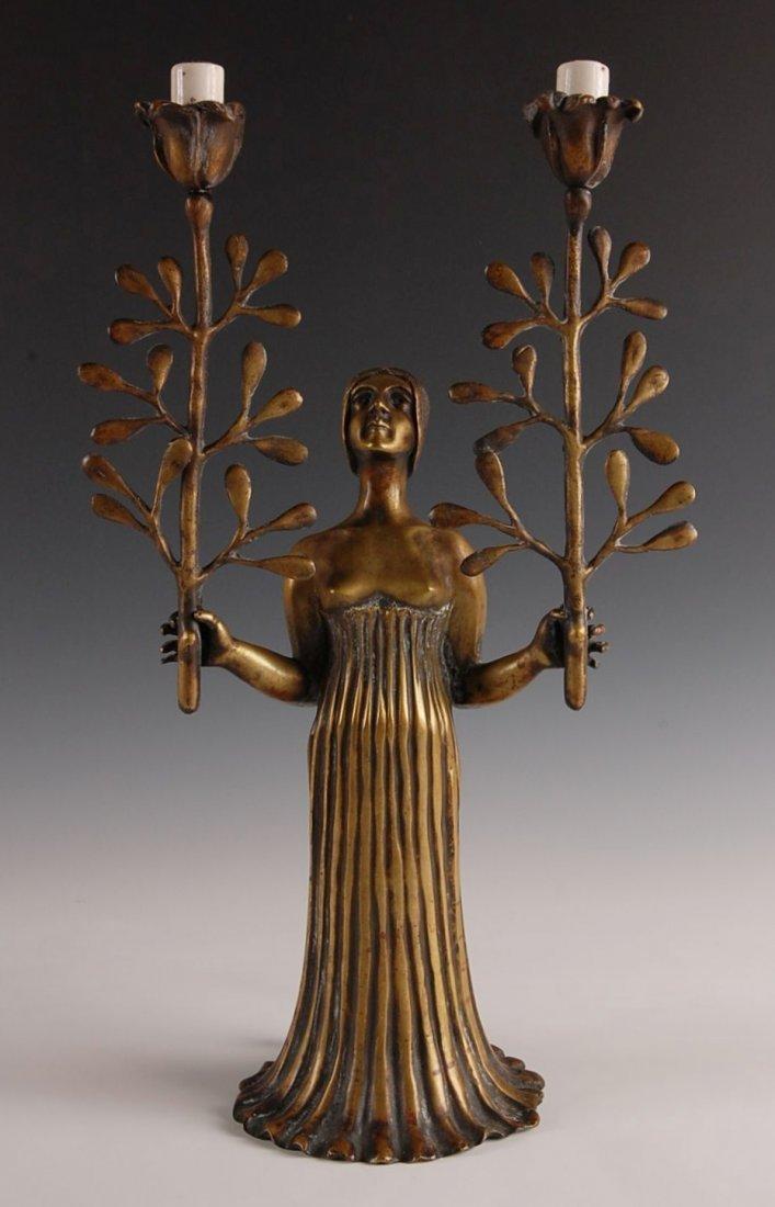 10: BRONZE SECESSIONIST FEMALE FIGURAL CANDLE LAMP