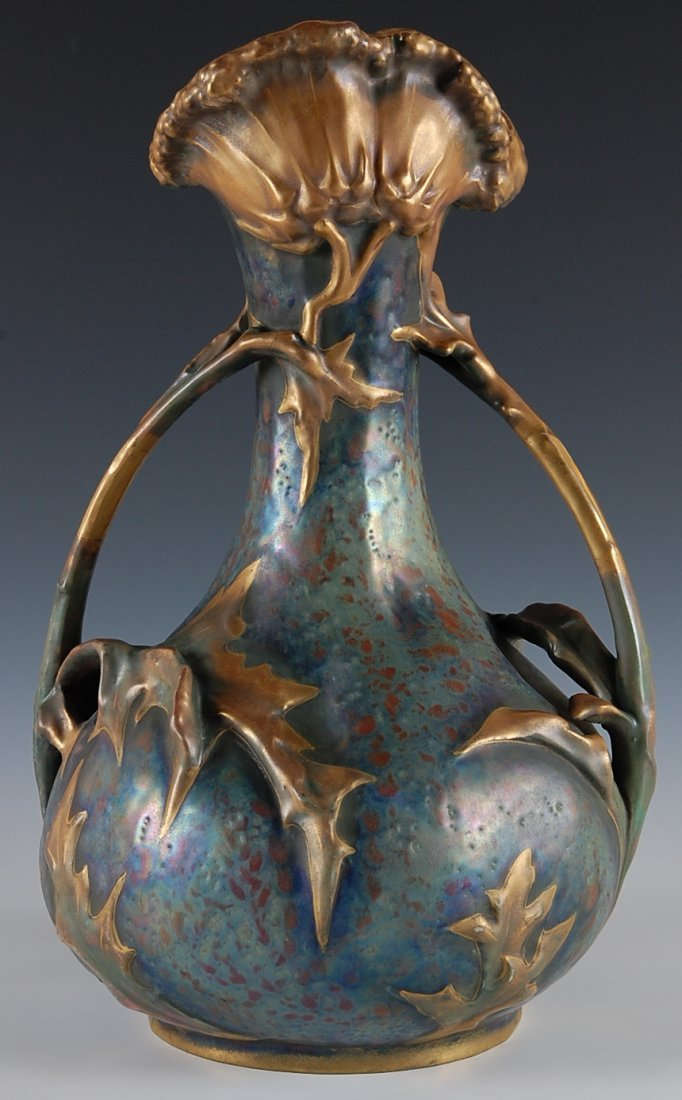 12: AMPHORA POTTERY THISTLE PATTERN VASE, 15 INCHES