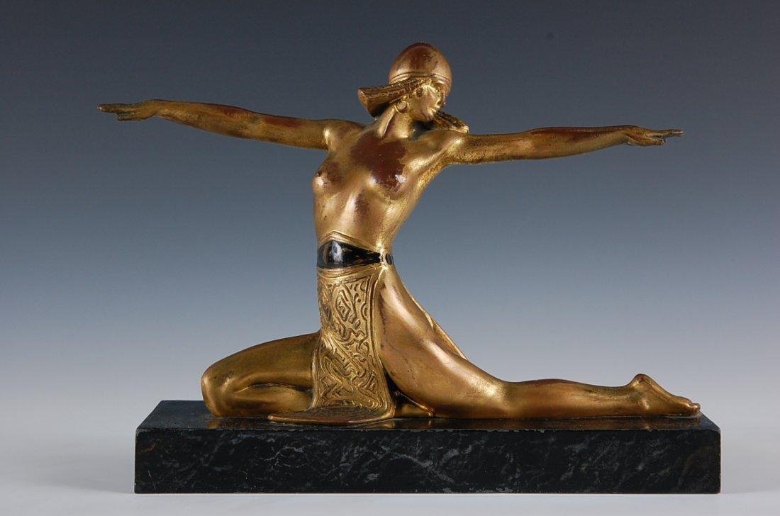 15: ART DECO GILDED METAL FIGURE OF A DANCER
