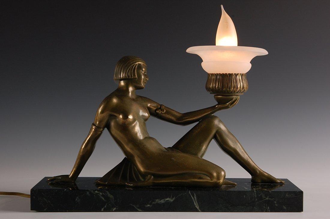 17: ART DECO NUDE FIGURAL LIGHT ON MARBLE BASE.