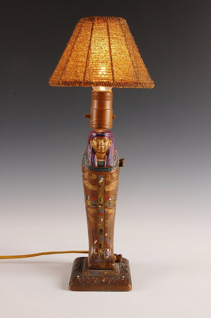 23: ART DECO EGYPTIAN REVIVAL SARCOPHAGUS WITH HIDDEN N