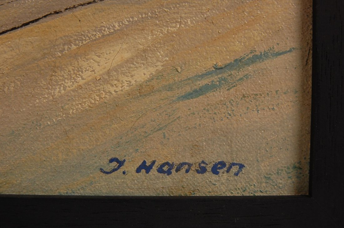 189: FOUR OIL ON CANVAS PAINTINGS SIGNED J. HANSEN, LAT - 10