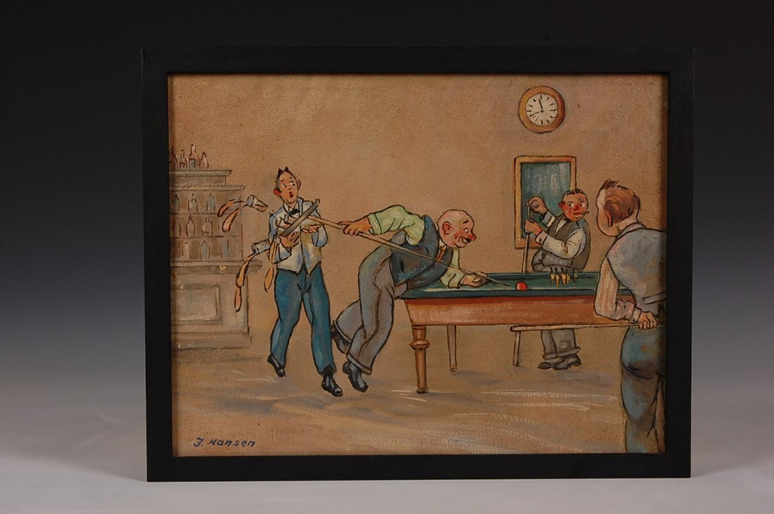 189: FOUR OIL ON CANVAS PAINTINGS SIGNED J. HANSEN, LAT - 4
