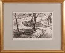 203: CHARLES BANKS WILSON (1918 - ) PENCIL SIGNED LITHO