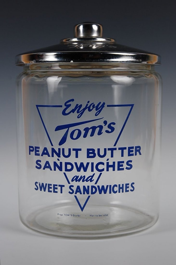 TOM'S PEANUT BUTTER SANDWICHES ADVERTISING JAR