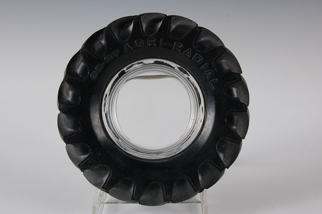 FIRESTONE & CO-OP TRACTOR TIRE ADVERTISING ASHTRAY