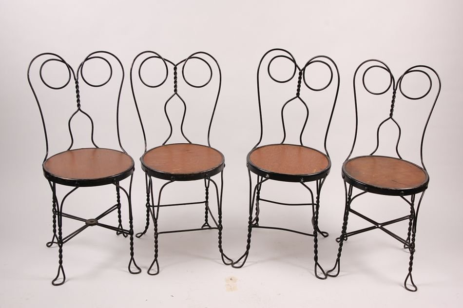 FOUR VINTAGE ICE CREAM PARLOR CHAIRS CIRCA 1920