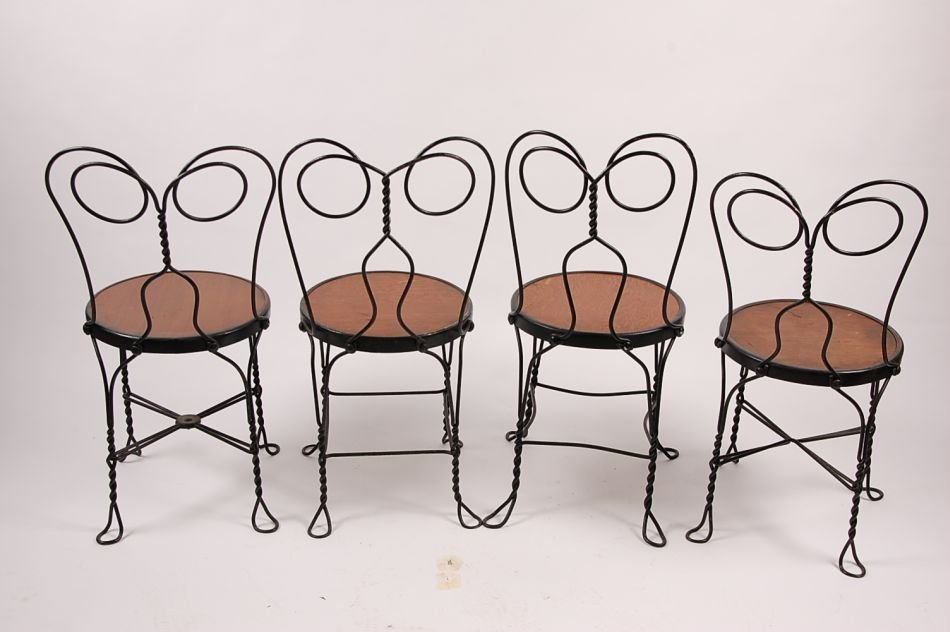 FOUR VINTAGE ICE CREAM PARLOR CHAIRS CIRCA 1920 - 2