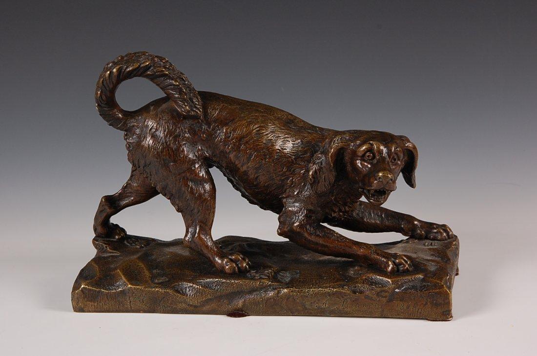 ANTIQUE BRONZE FIGURE OF A DOG SIGNED A. BIANCHI 1864