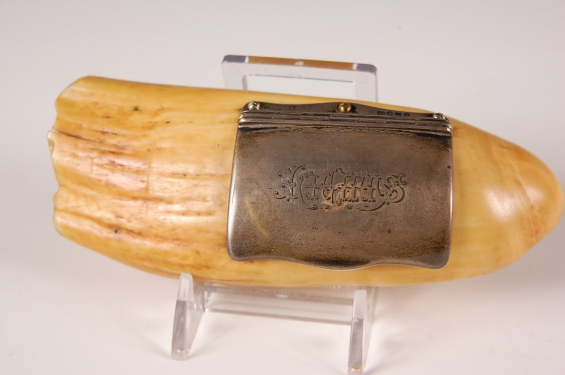 1855 LONDON STERLING MOUNTED WHALE IVORY SNUFF BOX