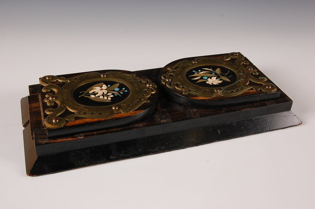 VICTORIAN ROSEWOOD BOOK STAND WITH PIETRA DURA PLAQUES