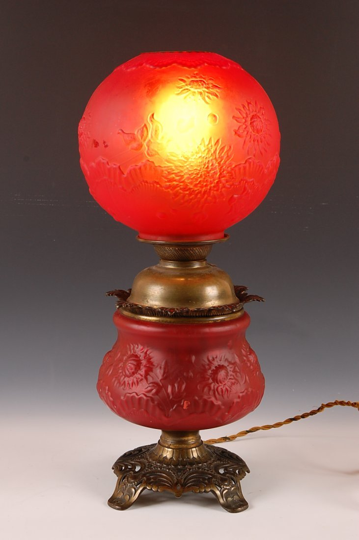 VICTORIAN RED SATIN PARLOR LAMP