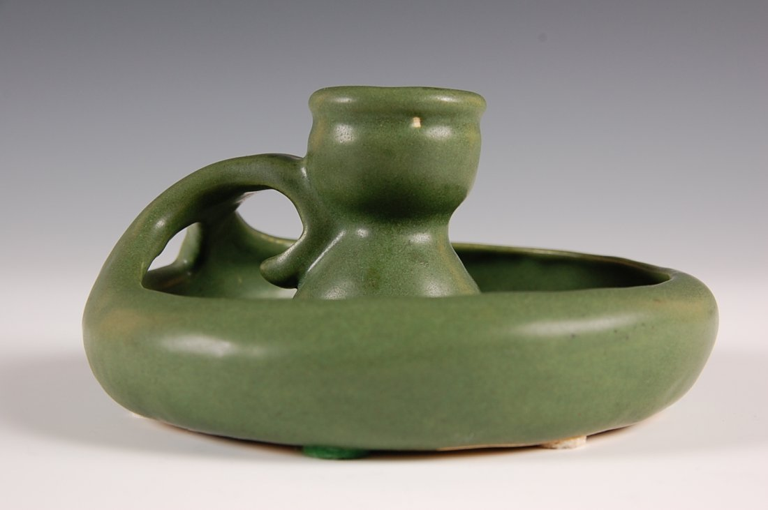 GREEN MATTE ARTS AND CRAFTS POTTERY CHAMBERSTICK