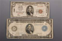CLINTON MO  MINNEAPOLIS MN FIVE DOLLAR CURRENCY NOTES