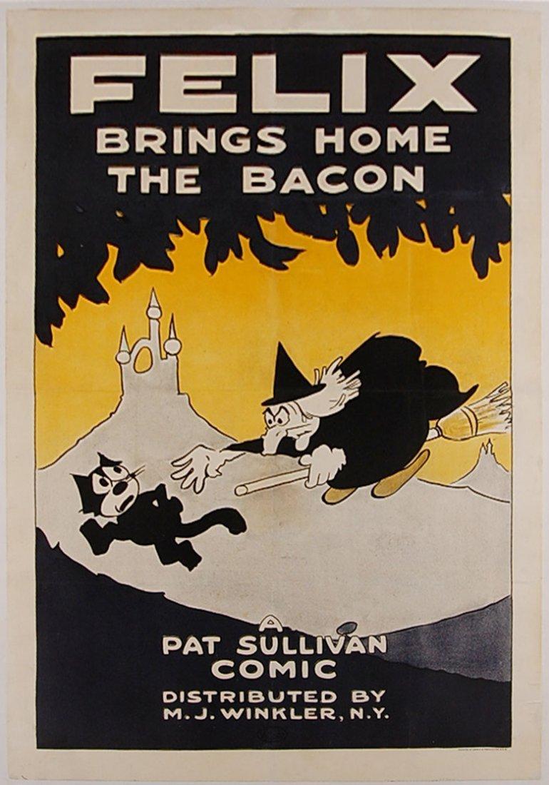 RARE ORIGINAL 1924 FELIX THE CAT MOVIE POSTER 'FELIX BR